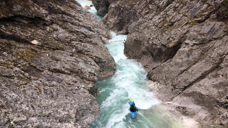 Kayaking upper Soča flows